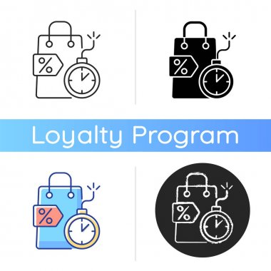 Limited-time offer icon. Type of discounts and sales. Special gift and reward buyers. Making purchases. Doing shopping. Linear black and RGB color styles. Isolated vector illustrations icon