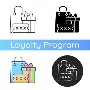 Promo code for purchase bonus icon. Discount coupons and promotional codes. Using in stores and online shops. Special offers. Linear black and RGB color styles. Isolated vector illustrations icon