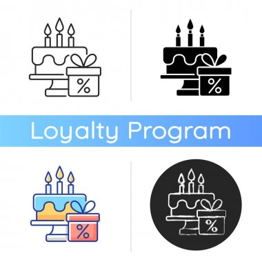 Birthday discount icon. Rewarding and promotions. Receiving surprise points. Loyalty program. Customers and brands. Linear black and RGB color styles. Isolated vector illustrations icon