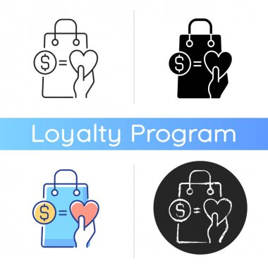 Money from purchases going to charity icon. Buy and donation. Charity and loyalty programs. Benefits and rewarding. Linear black and RGB color styles. Isolated vector illustrations icon