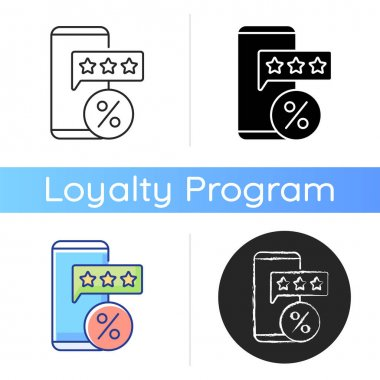 Review for discount icon. Earn points to use for purchases in stores. Percentage and buying things. Loyalty program. Linear black and RGB color styles. Isolated vector illustrations icon