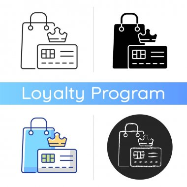 Vip membership icon. Loyalty card program. Discount offers and sell products. Privileges and purchase. Buyers and customers. Linear black and RGB color styles. Isolated vector illustrations icon