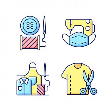 Clothing alteration RGB color icons set. Button replacement. Mask sewing. Work wear fix. Resizing shirt. Workshop salon. Garment restoration. Outfit repair services. Isolated vector illustrations icon