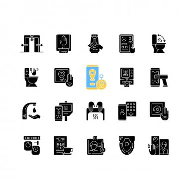 Contactless technology black glyph icons set on white space. Controlling house eco system from smartphone. Reducing germ spreading during covid. Silhouette symbols. Vector isolated illustration icon