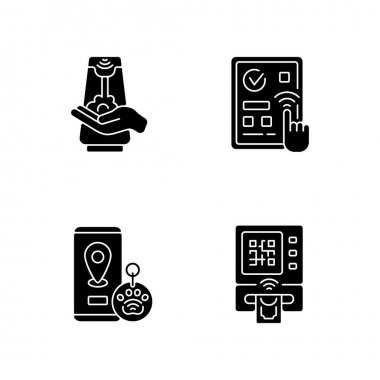 Contactless technology black glyph icons set on white space. Predictive touch technology to reduce contact with many surfaces. Cardless atm. Silhouette symbols. Vector isolated illustration icon