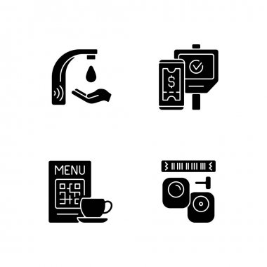 Contactless technology black glyph icons set on white space. Touchless soap dispenser in public bathrooms. Scanning qr code in restaurant menu. Silhouette symbols. Vector isolated illustration icon