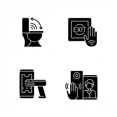 Contactless technology black glyph icons set on white space. Modern touchless toilet seat. Supermarket product ticker scanner. No touch exit switch. Silhouette symbols. Vector isolated illustration icon