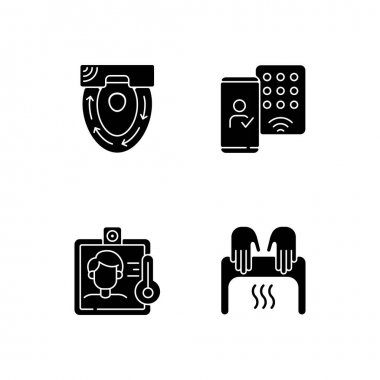 Contactless technology black glyph icons set on white space. Special automatic toilet seat cover. Detecting mobile credentials to authenticate. Silhouette symbols. Vector isolated illustration icon
