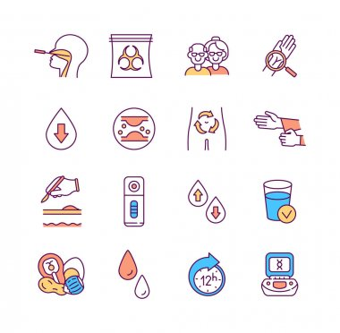 Lab research and diagnostics RGB color icons set. Upper respiratory infections. Hazardous medical waste. Wrist injuries. Lab equipment. Cholesterol test. Blood donation. Isolated vector illustrations icon
