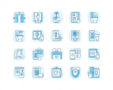 Contactless technology blue RGB color icons set. Controlling house eco system from smartphone. Reducing germ spreading during covid. Isolated vector illustrations icon