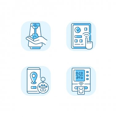 Contactless technology blue RGB color icons set. Predictive touch technology to reduce contact with many surfaces. Cardless atm. Isolated vector illustrations icon