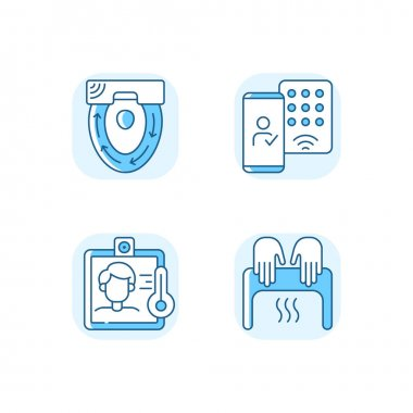 Contactless technology blue RGB color icons set. Special automatic toilet seat cover. Detecting mobile credentials to authenticate. Isolated vector illustrations icon