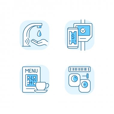 Contactless technology blue RGB color icons set. Touchless soap dispenser in public bathrooms. Scanning qr code in restaurant menu. Isolated vector illustrations icon