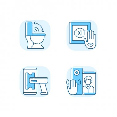 Contactless technology blue RGB color icons set. Modern touchless toilet seat. Supermarket product ticker scanner. No touch exit switch. Isolated vector illustrations icon