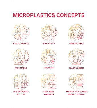 Microplastics concept icons set. Top environmental challenges idea thin line RGB color illustrations. Environmental Protection. Avoiding microplastics tips. Vector isolated outline drawings icon
