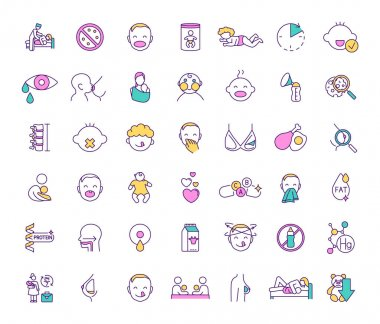 Breastfeeding and baby food RGB color icons set. Feeding method. Milestones. Prenatal education providing. Maternal bond. Breastmilk substitutes. Baby cues. Infancy. Isolated vector illustrations icon
