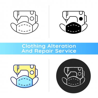 Custom face masks black linear icon. Textile respiratory production. Sewing machine. Do it yourself project. Clothing services. Outline symbol on white space. Vector isolated illustration icon