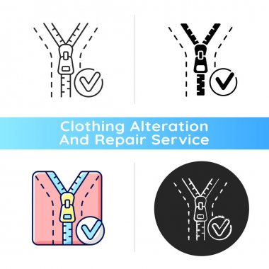 Zipper repair and replacement black linear icon. Professional tailor workshop. Zip pull on jacket. Clothing alteration and repair services. Outline symbol on white space. Vector isolated illustration icon