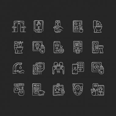 Contactless technology chalk white icons set on black background. Controlling house eco system from smartphone. Reducing germ spreading during covid. Isolated vector chalkboard illustrations icon