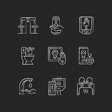 Contactless technology chalk white icons set on black background. Smart devices with interaction through devices. Remote control for home system. Isolated vector chalkboard illustrations icon