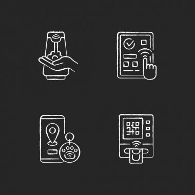 Contactless technology chalk white icons set on black background. Predictive touch technology to reduce contact with many surfaces. Cardless atm. Isolated vector chalkboard illustrations icon
