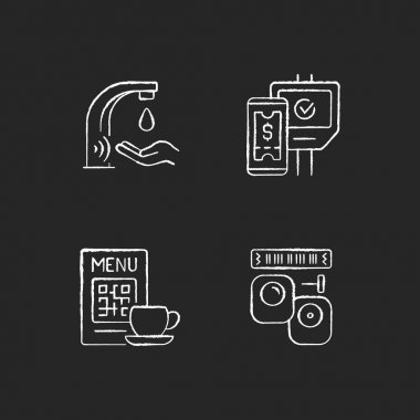 Contactless technology chalk white icons set on black background. Touchless soap dispenser in public bathrooms. Scanning qr code in restaurant menu. Isolated vector chalkboard illustrations icon