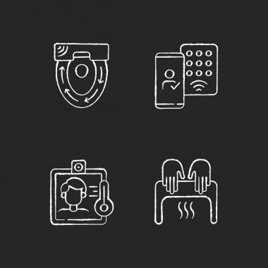 Contactless technology chalk white icons set on black background. Special automatic toilet seat cover. Detecting mobile credentials to authenticate. Isolated vector chalkboard illustrations icon