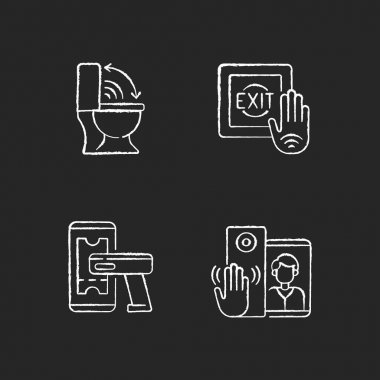 Contactless technology chalk white icons set on black background. Modern touchless toilet seat. Supermarket product ticker scanner. No touch exit switch. Isolated vector chalkboard illustrations icon