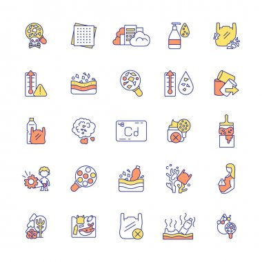 Microplastic RGB color icons set. Top environmental challenges. Microgranular contamination of plastic. Harmful emissions into environment. Global warming. Isolated vector illustrations icon
