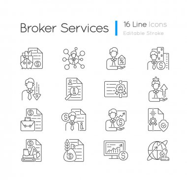 Broker service linear icons set. Online stock trading. Intellectual property. Sponsorship broker. Customizable thin line contour symbols. Isolated vector outline illustrations. Editable stroke icon