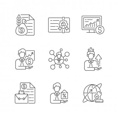 Financial advisor linear icons set. Commodity broker service. Professional license. Online stock trading. Customizable thin line contour symbols. Isolated vector outline illustrations. Editable stroke icon