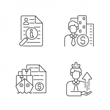 Brokerage linear icons set. Information broker. Corporate specialist on finance and commercial service. Customizable thin line contour symbols. Isolated vector outline illustrations. Editable stroke icon