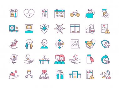 Health program RGB color icons set. Vaccine distribution. Cardiology. Prescription drugs. Healthy ageing. Physical activity. Seasonal influenza. Vaccination center. Isolated vector illustrations icon
