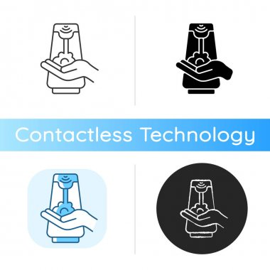 Touchless soap dispenser icon. Smart device that allow to use them without touching any surfaces that can contain germs. Linear black and RGB color styles. Isolated vector illustrations icon