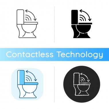 Touchless toilet seat icon. Smart home lid cover device that will lift up automatically when you approach. Linear black and RGB color styles. Isolated vector illustrations icon