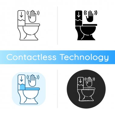 Touchless toilet flush icon. Advanced flushing systems that do not require contact with any surfaces to flush waste. Linear black and RGB color styles. Isolated vector illustrations icon