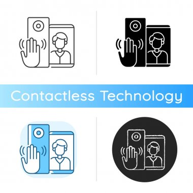 Video intercoms icon. Sensor technology capable of detecting gestures that trigger bell signal. Special smart home devices. Linear black and RGB color styles. Isolated vector illustrations icon