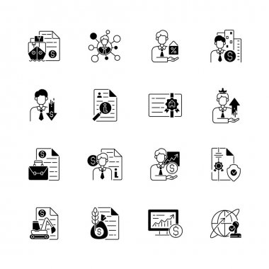 Broker service black linear icons set. Online stock trading. Intellectual property. Business deal. Equipment leasing. Commodity broker. Glyph contour symbols. Vector isolated outline illustrations icon