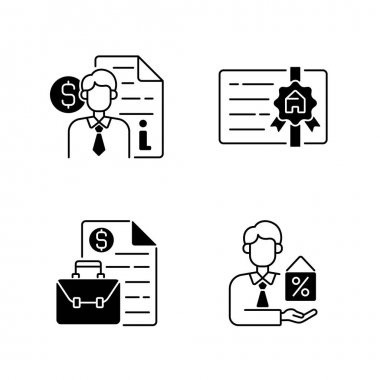 Broker black linear icons set. Finance advisor consultation. Broker license. Business management, contract deals. Intermediary services. Glyph contour symbols. Vector isolated outline illustrations icon