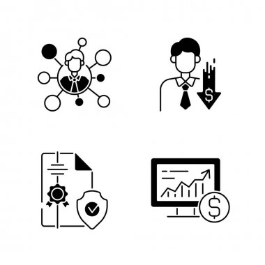 Brokerage service black linear icons set. Broker connection. Intellectual property. Online stock trading. Business deal and contract. Glyph contour symbols. Vector isolated outline illustrations icon