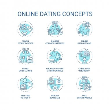 Online dating concept icons set. Sharing common interests in internet idea thin line RGB color illustrations. Man and woman searching for partner vector isolated outline drawings. Editable stroke icon