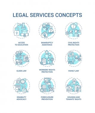 Legal services concept icons set. Access to education. Bankruptcy assistance. Civil rights granting idea thin line RGB color illustrations. Vector isolated outline drawings. Editable stroke icon