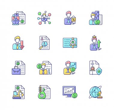 Broker service RGB color icons set. Online stock trading. Intellectual property. Business deal. Sponsorship broker. Equipment leasing. Commodity broker. Isolated vector illustrations icon