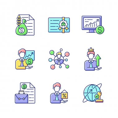 Financial advisor RGB color icons set. Commodity broker services. Professional license. Online stock trading. Sponsorship, employee connection. Business contract. Isolated vector illustrations icon