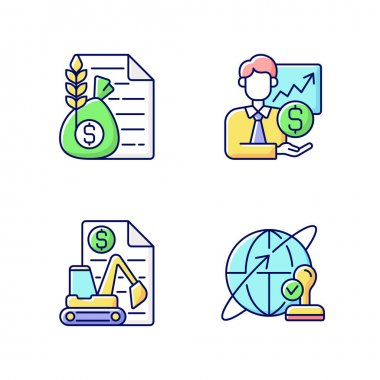 Intermediary services RGB color icons set. Commodity broker. Sponsorship, stock trading. Equipment leasing. Professional intermediary specialist. International shipping. Isolated vector illustrations icon