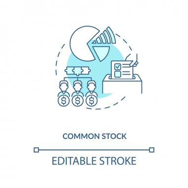 Common stock concept icon. Stock type idea thin line illustration. Holders in public corporations. Corporate equity ownership. Vector isolated outline RGB color drawing. Editable stroke