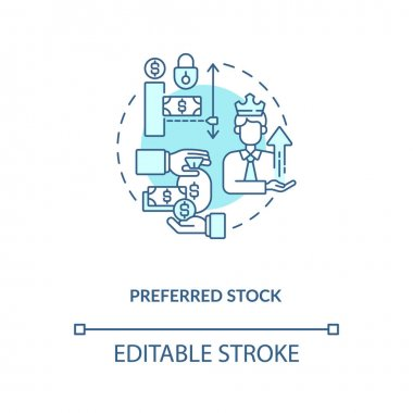 Preferred stock concept icon. Stock type idea thin line illustration. Preferreds. Fixed dividend payout. Ownership stake in corporation. Vector isolated outline RGB color drawing. Editable stroke