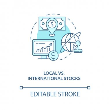 Local vs. international stocks concept icon. Stock type idea thin line illustration. Location. Foreign companies. Markets development. Vector isolated outline RGB color drawing. Editable stroke