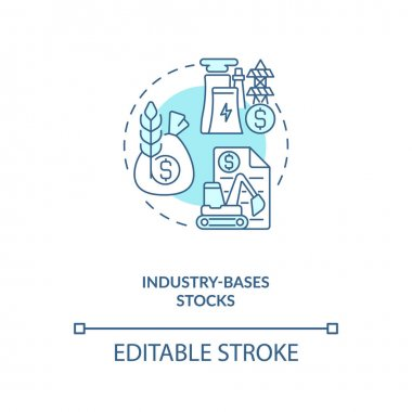 Industry-based stocks concept icon. Stock type idea thin line illustration. Company sectors. Providing industrial products and services. Vector isolated outline RGB color drawing. Editable stroke