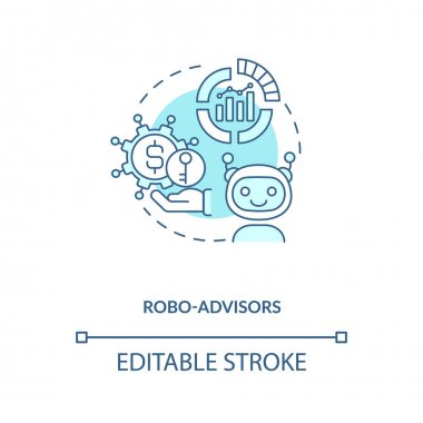 Robo-advisors concept icon. Broker type idea thin line illustration. Digital platforms. Robo-advisers. Automated financial planning tools. Vector isolated outline RGB color drawing. Editable stroke